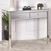 Giantex Mirrored Console Table with 2 Drawers Vanity Dressing Make Up Desk, Silver Finish with Faux Crystal Knobs