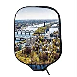 YOLIYANA Cityscape Durable Racket Cover,Aerial View of Riga City European Cultural Urban Mod Print Horizon with Old Tower Decorative for Sandbeach,One Size