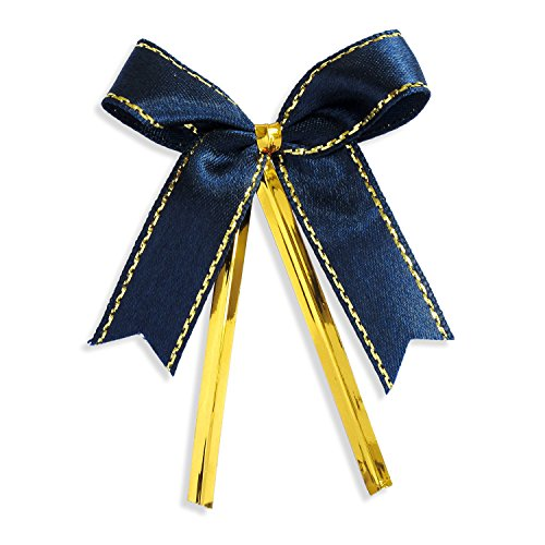 Lollipop Bow - Ribbon Bows with Twist Ties (100 Pieces) - Medium Size: 2 Inches - Made of High Quality Satin Ribbon - Great for Bakery Bag, Cello Bag, Lollipop, Cake Pop and Wedding Favor (Navy Blue and Gold)
