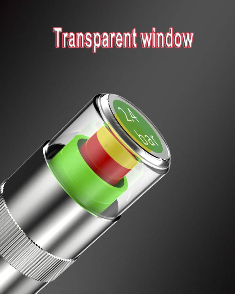 QUNQI STAR Tire Pressure Monitor Valve Caps Anti-Theft Sensor Indicator 3 Color Eye Alert for Car SUV Truck Motorcycles Vehicles (2 Set(8pcs))