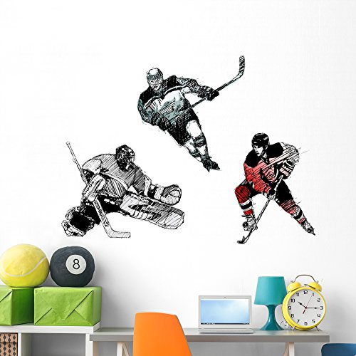(Wallmonkeys Ice Hockey Trio Wall Decal Sticker Set Individual Peel and Stick Graphics on a (60 in W x 42 in H) Sticker Sheet WM37814)
