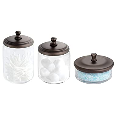 mDesign Glass Bathroom Vanity Apothecary Storage Organizer Canister Jar for Cotton Balls, Swabs, Makeup Sponges, Bath Salts, Hair Ties, Jewelry - Set of 3, Varied Sizes - Clear/Bronze
