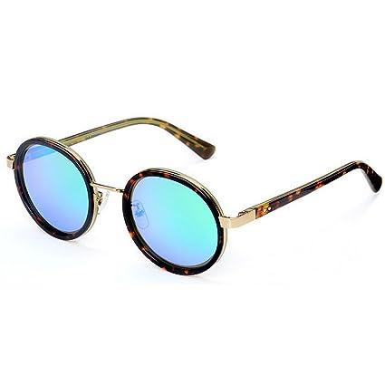 Personalidad de las mujeres pequeñas gafas de sol polarizadas redondas marco de flor de fibra acetato