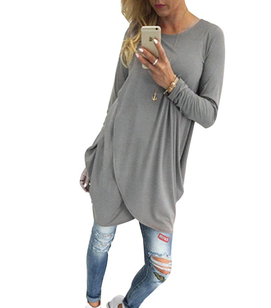 Women'S Casual Long Shirt Blouse Long Sleeve Loose Top Tunic Dress With Irregular Hem