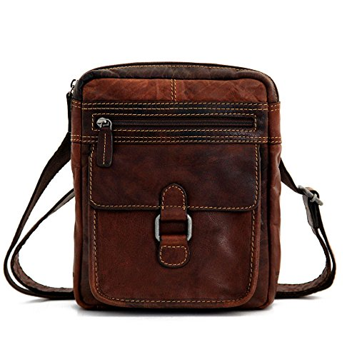 Jack Georges Unisex [Personalized Initials Embossing] Voyager Slim Bag in Brown by Jack Georges