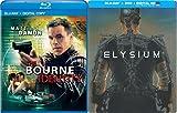 Elysium Exclusive Steelbook Edition & Bourne Identity Blu Ray + DVD 2 Pack Matt Damon Movie Set