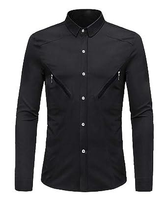 WAWAYA Men Button Down Long Sleeve Casual Business Slim Dress Work Shirt