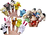 FunsLane Story Time Finger Puppets Set 16 Pcs - 10 Animals and 6 People Family Members Puppets Toys