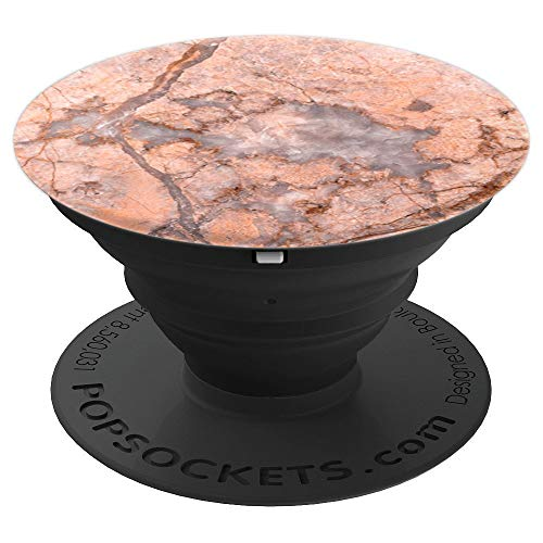 Coral Marble Look Rose Pink Rock Stone Art Smartphone Holder - PopSockets Grip and Stand for Phones and Tablets ()