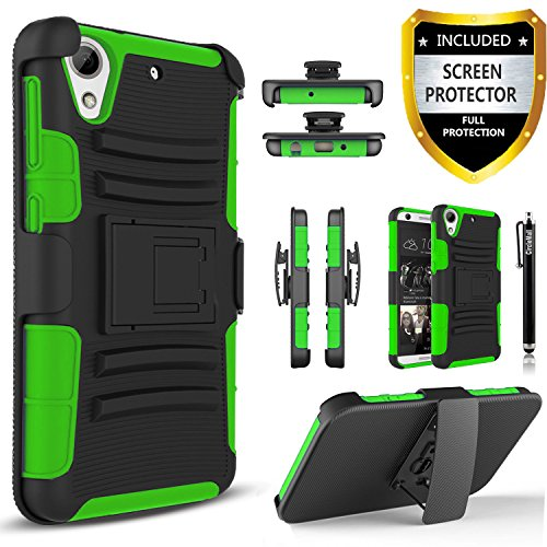 HTC Desire 626s Case, Combo Rugged Shell Cover Holster with Built-in Kickstand and Holster Locking Belt Clip Green + Circle(TM) Stylus Touch Screen Pen And Screen Protector