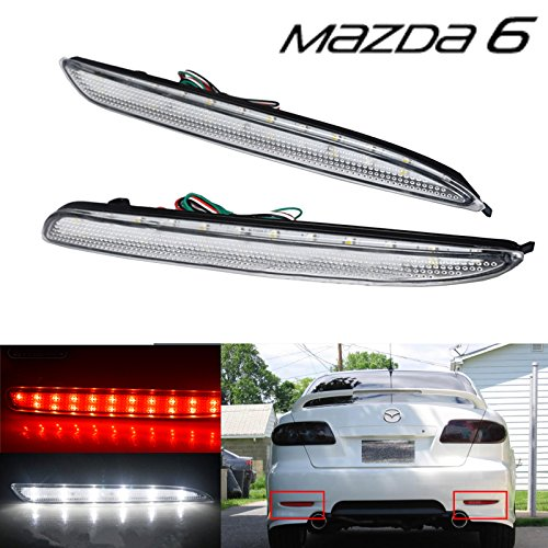 BSLighting Clear Lens LED Rear Bumper Reflector Brake Light Mazda 6 Mazdaspeed6 Atenza GG