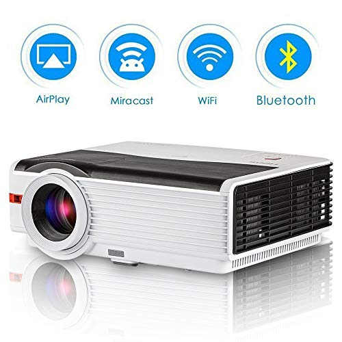 "Bluetooth Android Projector Outdoor 4200 Lumen Support Full HD 1080P Max 200"" LCD LED Wirelss Projector Home Theater Movies Multimedia HDMI USB AV VGA Video Proyector for Smartphone Game Console from EUG"