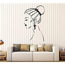Vinyl Wall Decal Beautiful Girl Face Braids Hairstyle Earrings Stickers Large Decor (1525ig)