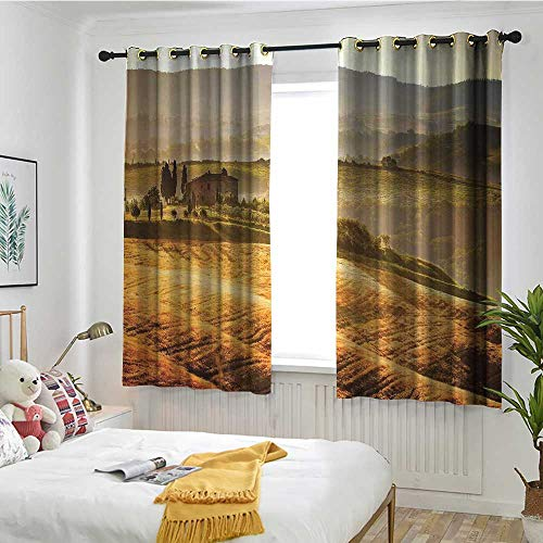(MaryMunger Tuscan Waterproof Window Curtains Siena Tuscany Retro Farm House Trees Old Path Country Landscape on Sunset Draft Blocking Draperies W 63
