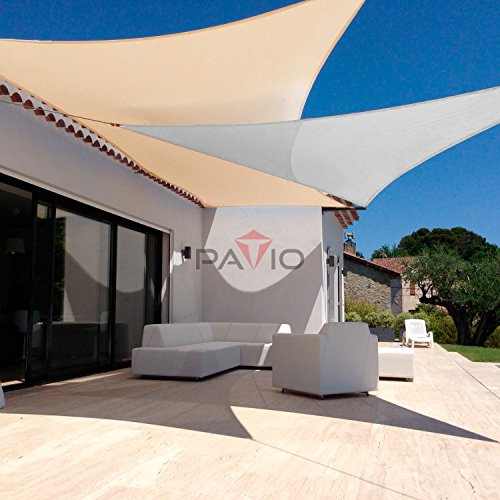 Patio Large Sun Shade Sail 24' x 24' x 24' Equilateral triangle Heavy Duty Strengthen Durable Outdoor Canopy UV Block Fabric A-Ring Design Metal Spring Reinforcement 7 Year Warranty -Light Gray by Patio Paradise (Image #3)