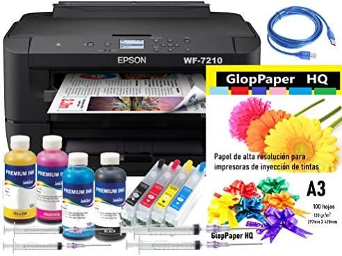 Kit Impresora A3 WF-7210 Tinta PIGMENTADA Cartuchos Recargables Y ...