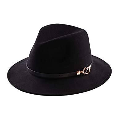eedf31bf747 Mostyleo Womens Fedora Hat 100% Wool Felt Hats Winter Trilby Cap Wide Brim  with Leather
