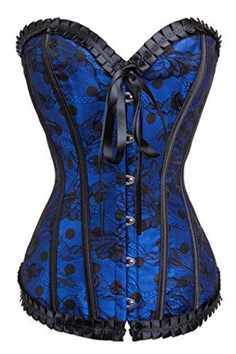 Alivila.Y Fashion Womens Vintage Hourglass Classic Corset Bustier 2043-Blue-5XL Corset 46 Corset