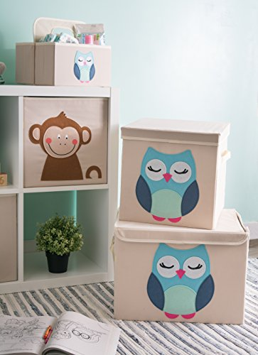 DII Nursery Storage Bins for Toys, Clothing, Books, Cube Organizers (13 x 13 x 13), Owl, w/Lid