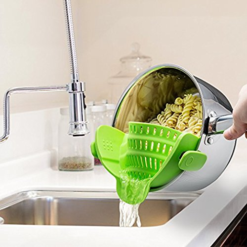 Clip On Silicone Colander, Fits all Pots and Bowls, Kitchen Accessories - Lime Green