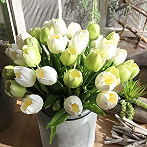 Juesi PU Holland Mini Tulip Artificial Flower Real Touch for Wedding,Room,Home,Hotel,Party Decoration, Pack of 1 23