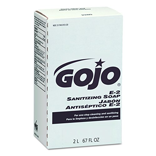 E2 Sanitizing Soap Refill (GOJO 228004 E2 Sanitizing Lotion Soap, Fragrance-Free, Clear, 2000 mL Refill (Case of 4))