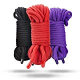 Shibari Bondage Soft Cotton Rope - BDSM Sex Restraints for Couples - Black, Red, and Purple. 3 - pack 32 feet - 10m each - 96 feet total + Free eBook Larger Image