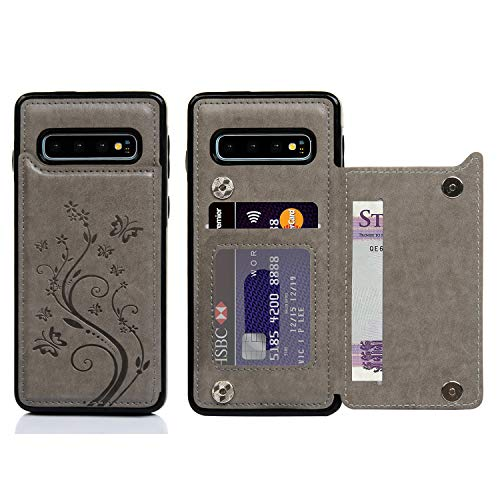 Galaxy S10 Wallet Case, Case with Card Holder Embossed Butterfly Slim Folio Leather Cover Shockproof Kickstand with Credit Card Slot Protective Skin for Galaxy S10, Gray