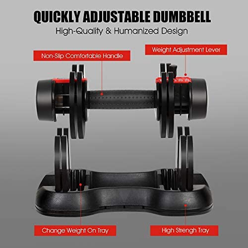Adjustable Dumbbells, 5, 10, 15, 20, 25 lbs Dumbbell Weights Set for Men and Women, Fast Adjust Weight in 1 Second, Save Space and for Easier Transitions in Home Gym Workouts(Single) 2