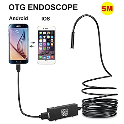 AttoPro Upgrade 5.5mm Semi-rigid USB Endoscope for OTG Android IOS Phones, Tablet?Digital Inspection Borescope with 2.0 M HD IP67 Waterproof Snake Camera with 6 LED Lights ( 5M)
