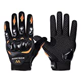 Wonzone Alloy Steel Knuckle Gloves Sport Shooting Paintball Hunting Riding Motorcycle Riding summer gloves (Black&Orange, Large)