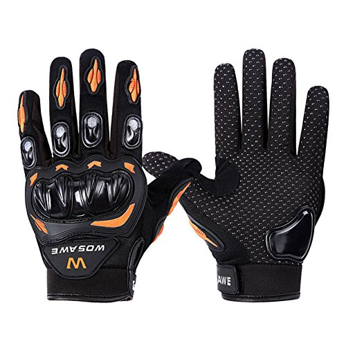 Wonzone Alloy Steel Knuckle Gloves Sport Shooting Paintball Hunting Riding Motorcycle Riding summer gloves (Black&Orange, X-Large)