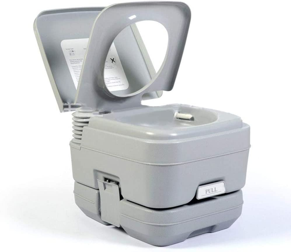 Portable Toilet Indoor Commode Travel Potty Compact Toilet with 5.3 Gallon Waste Tank and Built-in Pour Spout and Washing Sprayer for Outdoor Camping RV Boat Portable Camping Toilet