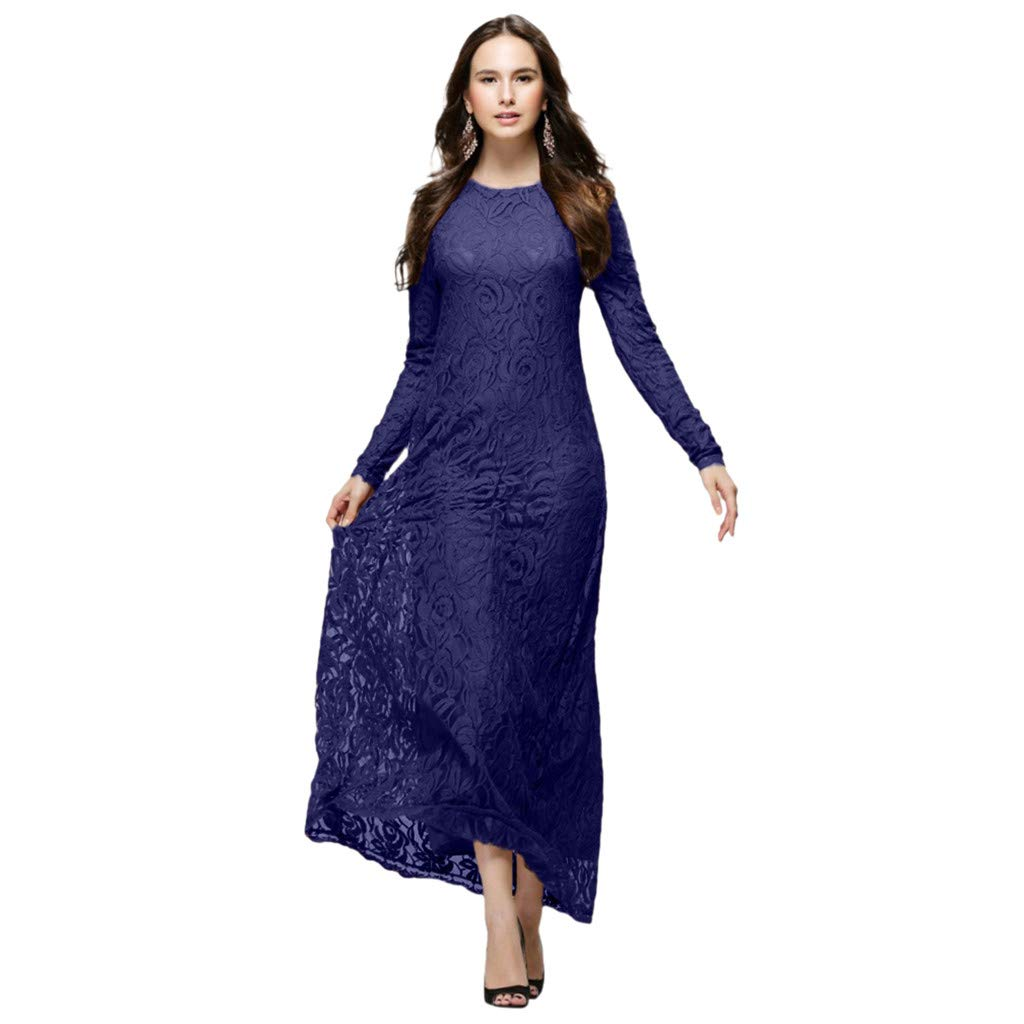 Toponly Vintage Muslim Dresses Gown Robe Womens Slim Lace Islamic Floral Abaya Jilbab Double Layer Long Sleeve Casual Maxi Dress by Toponly Dress For Women 2019 (Image #4)