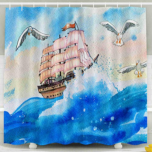 (EMMTEEY Xmas Shower Curtain, 78x72Inch Bath Shower Curtain with Hooks Waterproof Design for Bathroom DécorWatercolor Painting with A Sailing Ship and Seagulls)
