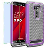 Asus ZenFone 2 Laser / ZE551KL Case, INNOVAA Anti-Slip Shockproof Soft Silicone Dual-Layer Durable Armor Case W/ Free Screen Protector & Touch Screen Stylus Pen - Grey/Light Purple