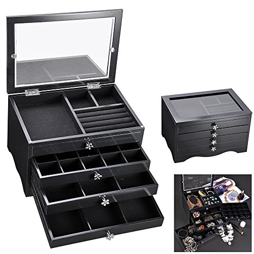 Yescom Wooden Jewelry Box Organizer Storage Case Transparent Acrylic Lid Ring Earring Necklace Black ()