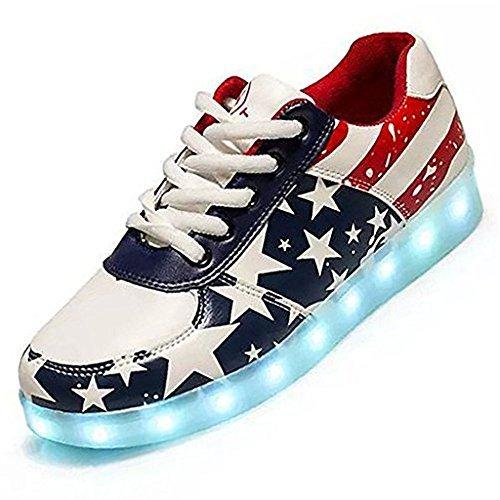 luckfugui Men Women American USA Flag USB LED Light Shoes Flashing Sneakers gq45 ()