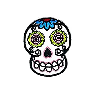 2.5 x 3.2 inches.White Novelty Iron on Skull Candy Patch Embroidered DIY Patches Cute Applique Sew Iron on Kids Craft Patch for Bags Jackets Jeans Clothes