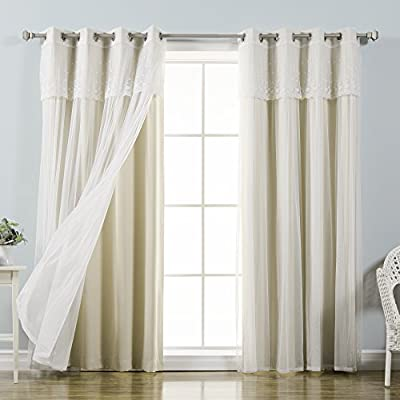 Best Home Fashion Tulle Lace with Attached Valance Sheer Curtains - Stainless Steel Nickel Grommet Top - Layer and style any way you want in one affordable package Features an innovative triple weave fabric construction to block out sunlight and harmful UV rays Each panel has 8 stainless steel nickel grommets. Grommet has 1.6-inch inner diameter, Included grommet rim is 2.7 inches - living-room-soft-furnishings, living-room, draperies-curtains-shades - 51BOAs6mOJL. SS400  -