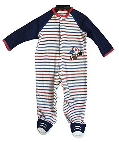 Little Me Boy's Bodysuit Romper (9M, Striped Football)