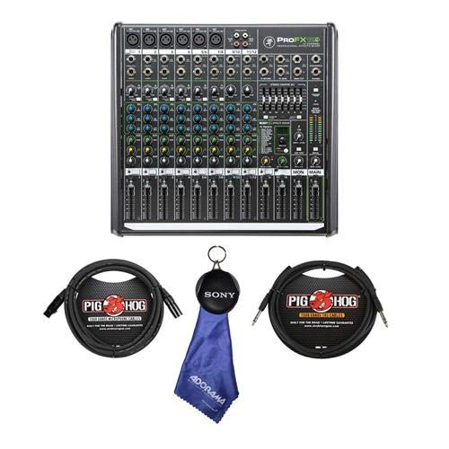 Mackie ProFX12v2 12-Channel Pro FX Mixer with USB, 4 Stereo Channels, 7-Band Graphic EQ - With 6' 1/4in TRS to 1/4in TRS Balanced Instrument Cable, 15' 8mm XLR Mic Cable, Fiber Optic Cloth