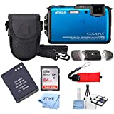 Nikon COOLPIX AW110 Wi-Fi and Waterproof Digital Camera with GPS+ 64Gb Accessory Bundle (Blue)