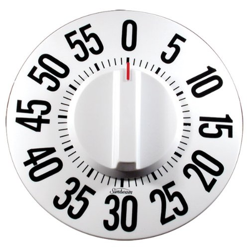 Tactile Low Vision Timer-White Dial, Black Numbers by MaxiAids