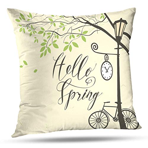 WAYATO Decorative Pillow Covers Banner with Hello Spring Spring Landscape with Green Tree Park Bicycle and Clock Lamp Branch Double-Sided Pattern Invisible Zipper Applies to Living Room -