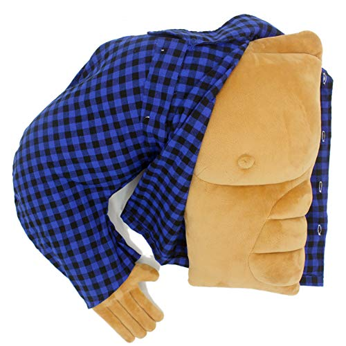 Boyfriend Husband Cuddle Buddy Pillow Muscle Man Body Arm Pillows Joke Toy Gag Gift for Mother's Day Girlfriend Birthday Valentine's Day (Muscle Man in Blue Plaid Shirt)