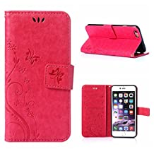 Iphone6/iphone6s 4.7inch Elegant Wallet Case, Apple iphone6s Beautiful Case, Flower Butterfly Pattern Premium PU Leather Wallet Case with Wrist Strap Flip Case Cover (rose)
