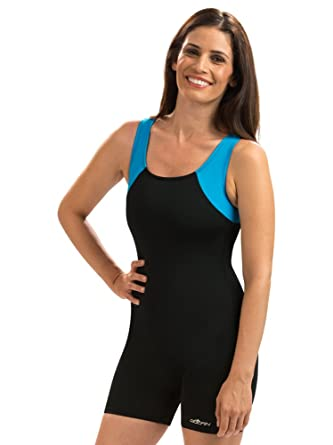 7530b0bc95 Amazon.com  Dolfin Color Block Swimsuit Aquatard Neon