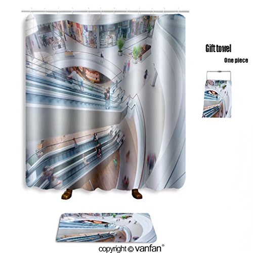 vanfan bath sets with Polyester rugs and shower curtain modern shopping mall people in rush 35398765 shower curtains sets bathroom 72 x 78 inches&31.5 x 19.7 inches(Free 1 towel and - Mall Shaw