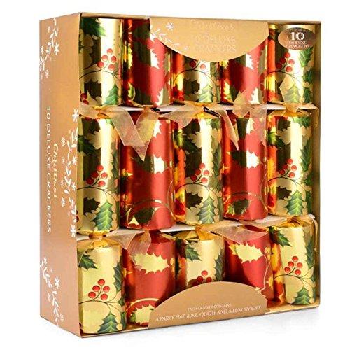 10 x Deluxe Grande Crackers di Natale - Oro rosso, verde e con Holly design - Categoria 1 Toyland®